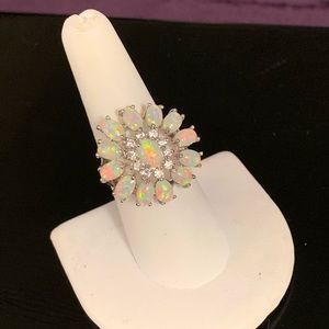 Flower Shaped Opal & CZ Stone Silver Ring Size 8